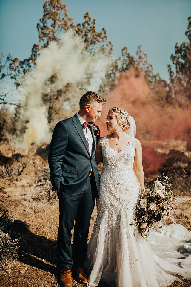 bride and groom fall wedding smoke bombs