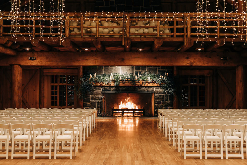 ceremony set up with fireplace