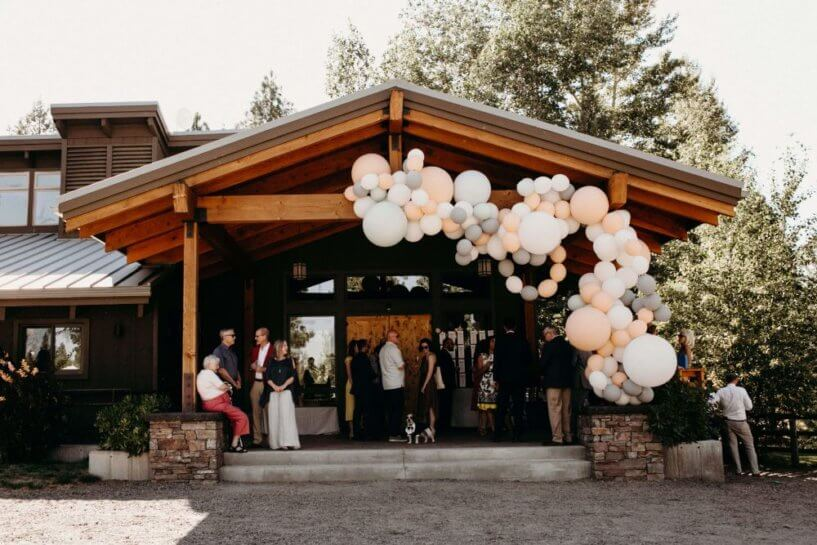 lodge with balloons hanging