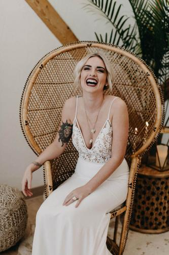 modern bridal gown wicker chair